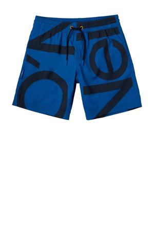 zwemshort Cali Zoom met logo blauw/zwart