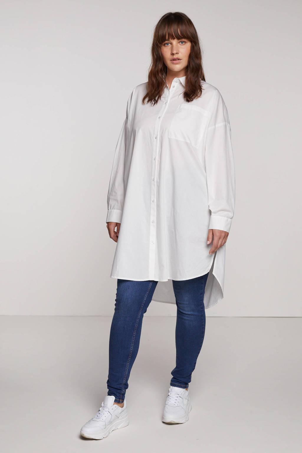 VERO MODA CURVE blouse VMPERCEY van biologisch katoen wit, Wit