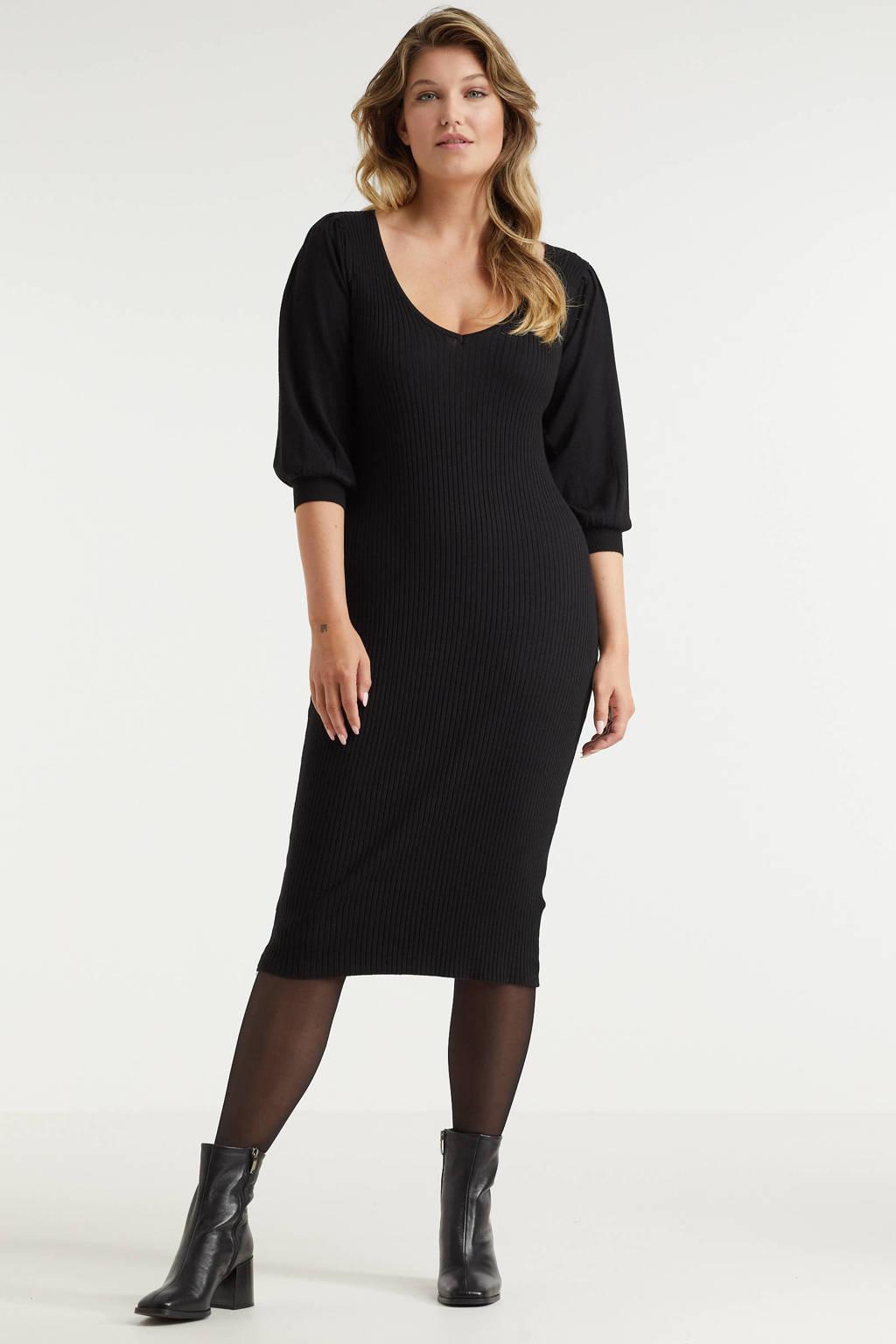Miljuschka by Wehkamp ribgebreide jurk met pofmouwen zwart, Zwart