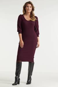 Miljuschka by Wehkamp ribgebreide jurk met pofmouwen burgundy, Bordeaux rood