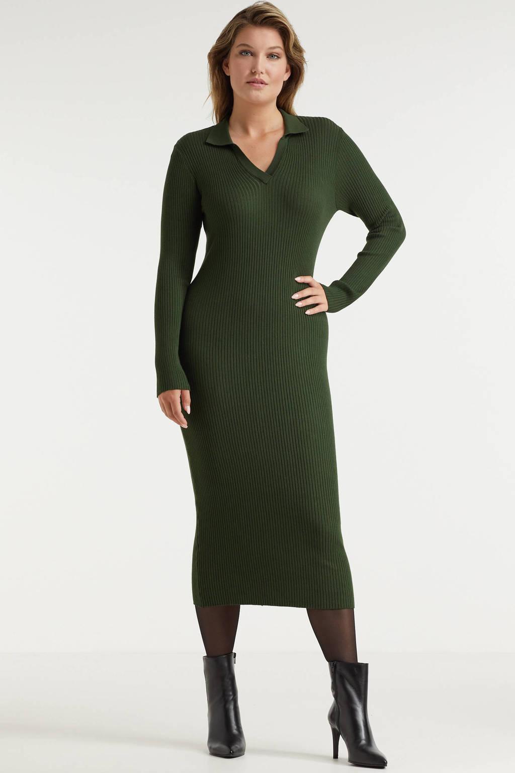 Miljuschka by Wehkamp gebreide jurk met kraag groen, Groen