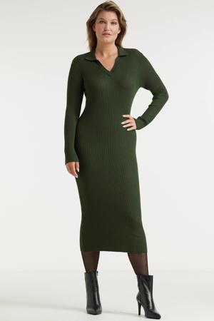 gebreide jurk met kraag groen