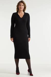 Miljuschka by Wehkamp gebreide jurk met kraag zwart, Zwart