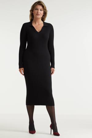 gebreide jurk met kraag zwart