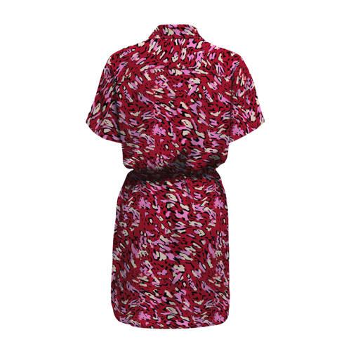ONLY blousejurk ONLOVA met all over print en plooien rood/roze/ecru