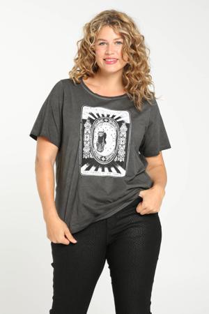 T-shirt met printopdruk antraciet/wit/zwart