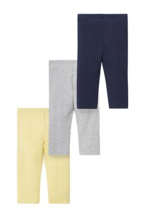 legging - set van 3 geel/grijs/donkerblauw