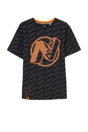 T-shirt van biologisch katoen zwart/oranje