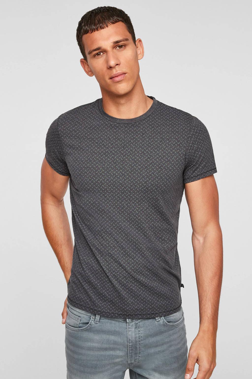 Q/S designed by slim fit T-shirt met all over print zwart, Zwart