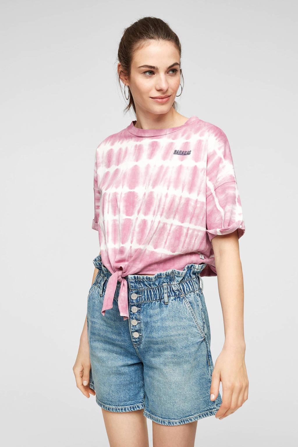 Q/S designed by wide leg jeans short blauw, Blauw