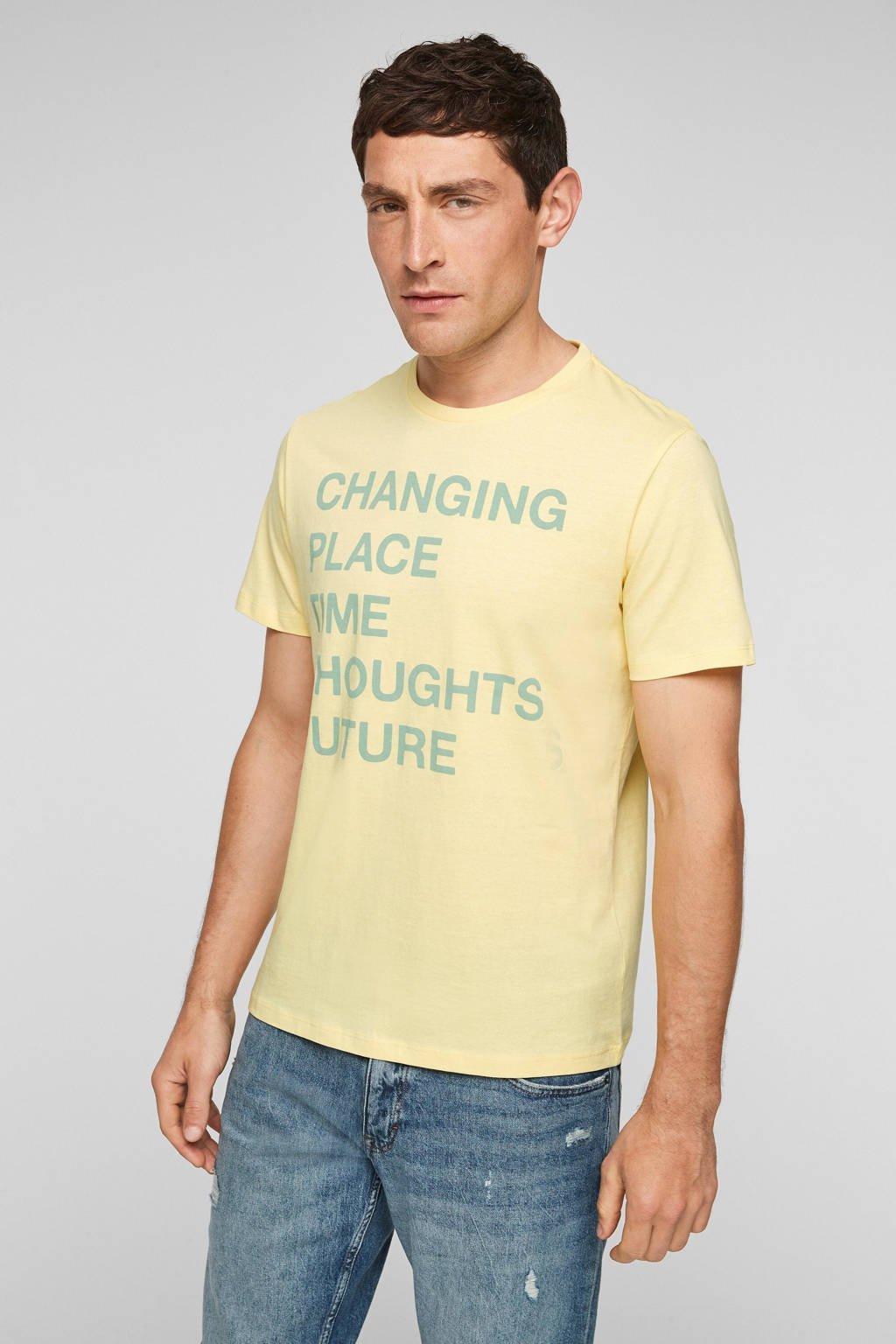 s.Oliver regular fit T-shirt met tekst lichtgeel, Lichtgeel