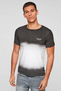 Q/S designed by dip-dye slim fit T-shirt wit/donkergrijs, Wit/donkergrijs