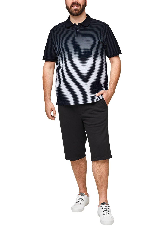 s.Oliver Big Size gestreepte regular fit polo Plus Size blauw, Blauw