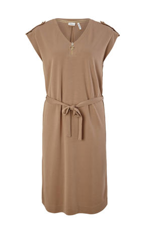 jurk met ceintuur bruin