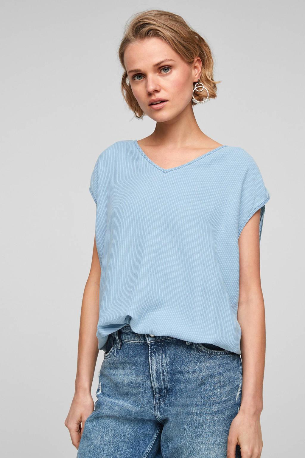 s.Oliver geweven blousetop in streep lichtblauw/wit, Lichtblauw
