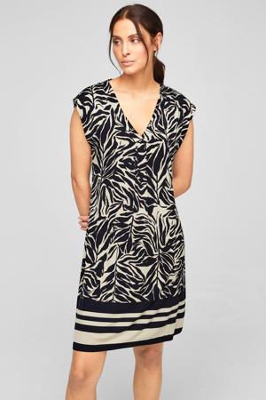 jurk met all over print en plooien beige/zwart