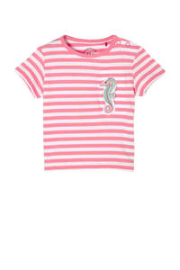 s.Oliver baby gestreept T-shirt roze/wit, Roze/wit