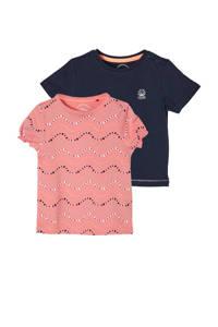 s.Oliver T-shirt - set van 2 roze/donkerblauw, Roze/donkerblauw