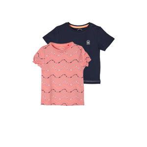 T-shirt - set van 2 roze/donkerblauw