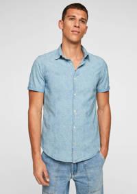 s.Oliver slim fit overhemd met all over print lichtblauw, Lichtblauw