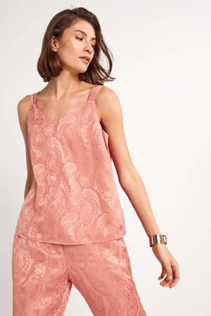 top met paisleyprint roze