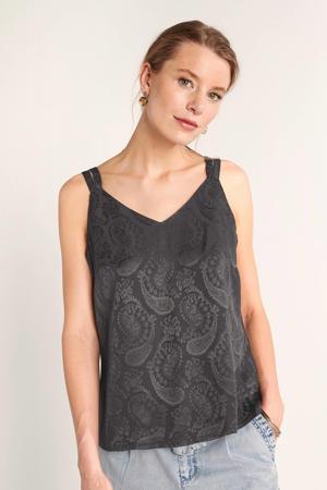 top met paisleyprint zwart