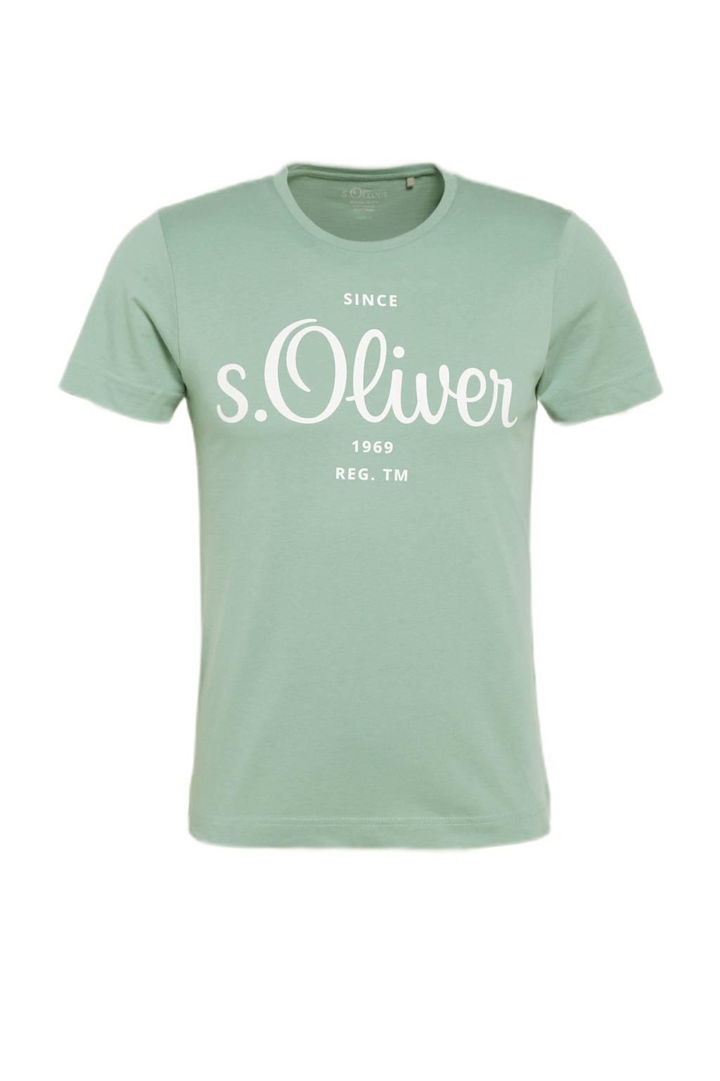 s.Oliver regular fit T-shirt met logo lichtgroen, Lichtgroen