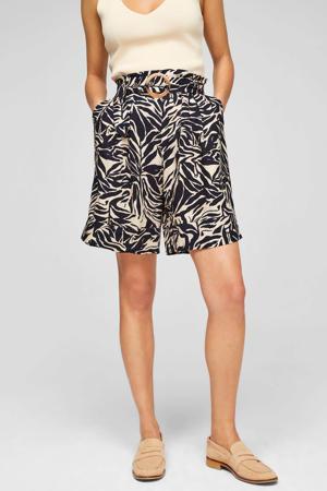 high waist wide leg broek met all over print beige/zwart