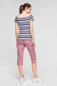 Q/S designed by gestreepte off shoulder top roze/blauw/wit, Roze/blauw/wit