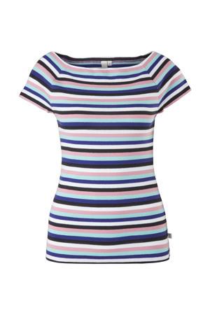 gestreepte off shoulder top roze/blauw/wit