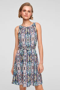 Q/S designed by jurk met all over print en plooien roze/blauw, Roze/blauw