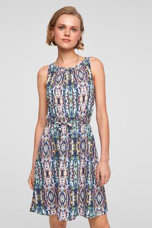 jurk met all over print en plooien roze/blauw