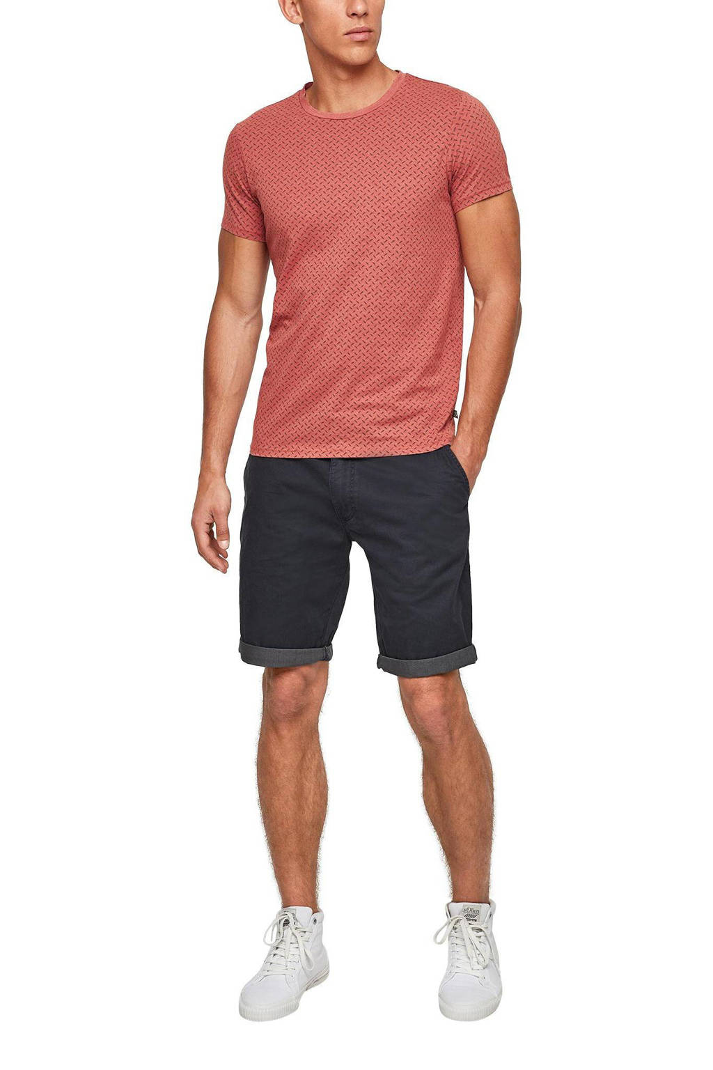 Q/S designed by slim fit T-shirt met all over print rood, Rood