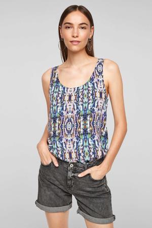 top met all over print roze/blauw
