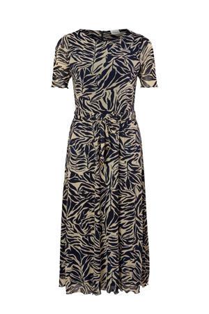 jurk met all over print en plooien beige/blauw