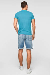 Q/S designed by slim fit T-shirt met all over print blauw, Blauw