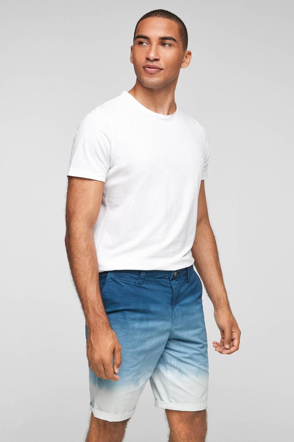 s.Oliver dip-dyeregular fit short blauw/wit, Blauw/wit
