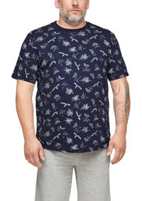 s.Oliver Big Size T-shirt Plus Size met all over print blauw, Blauw