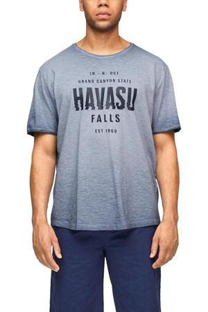 T-shirt Plus Size met tekst blauw