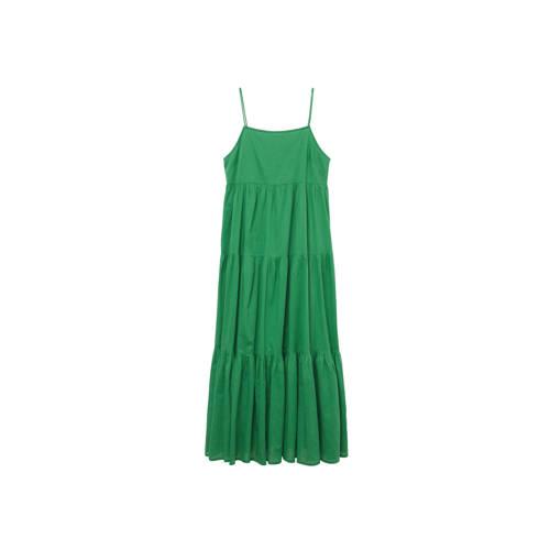 Mango semi-transparante maxi jurk met volant groen