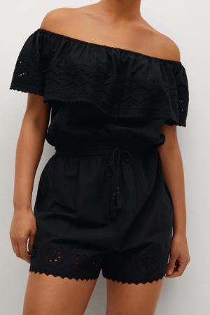 high waist straight fit short zwart