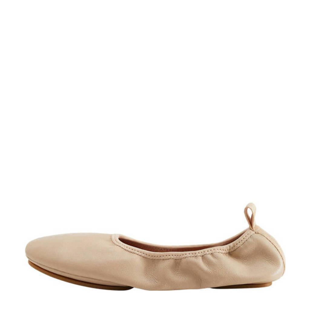 Mango   leren ballerina's zand, zand/beige