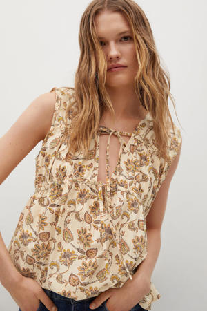 blouse met all over print naturel wit