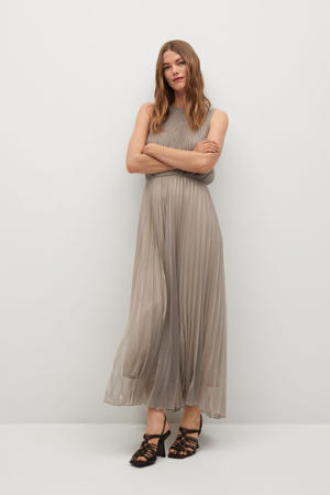 semi-transparante maxi jurk met open detail champagne
