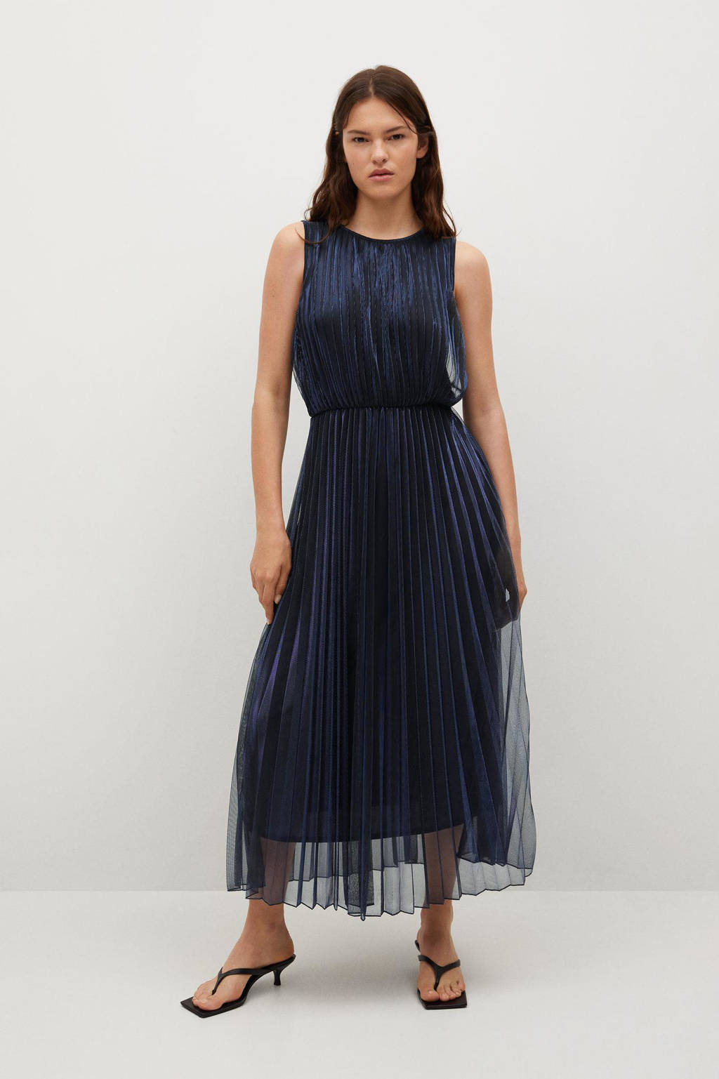 Mango midi jurk geplisseerd donkerblauw, Donkerblauw