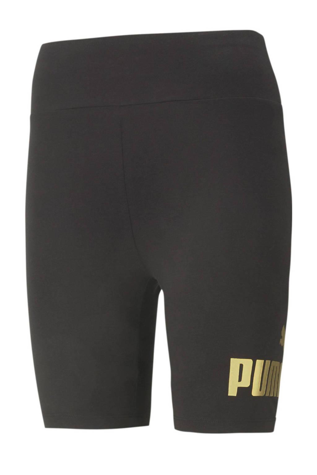 Puma high waist slim fit broek met logo zwart/goud, Zwart/goud