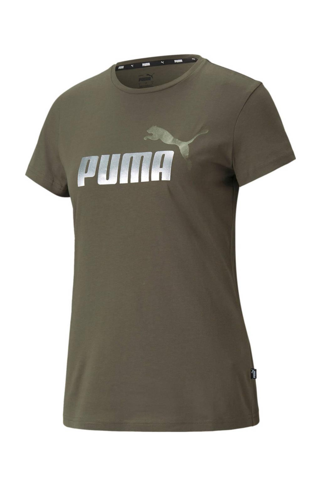 Puma T-shirt met logo groen/zilver, Groen/zilver