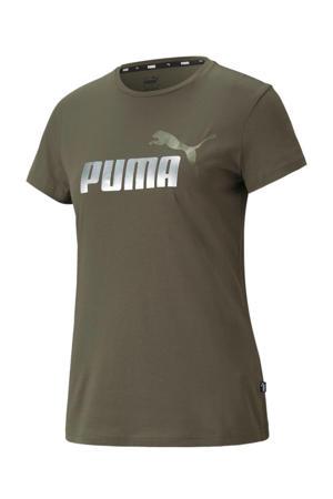 T-shirt met logo groen/zilver