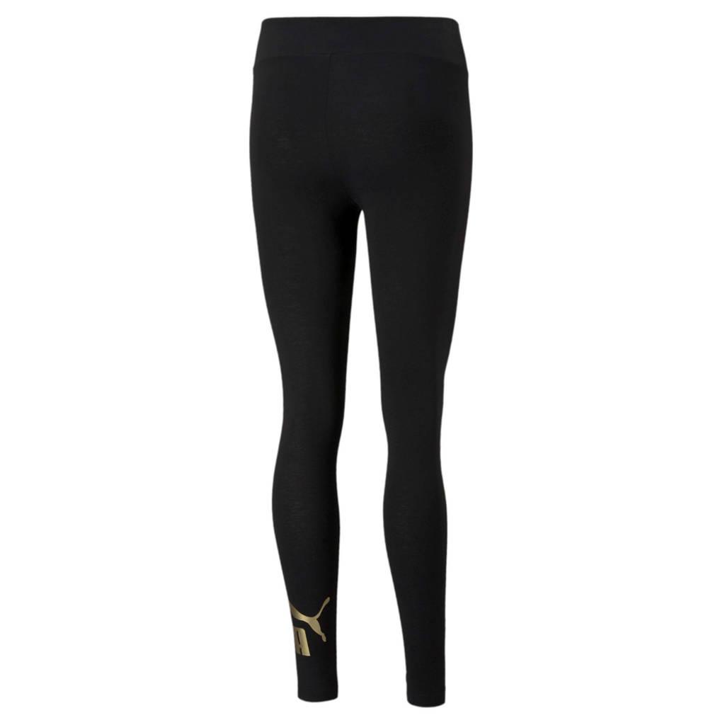 Puma high waist legging met logo zwart/goud, Zwart/goud