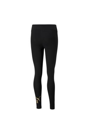 high waist legging met logo zwart/goud